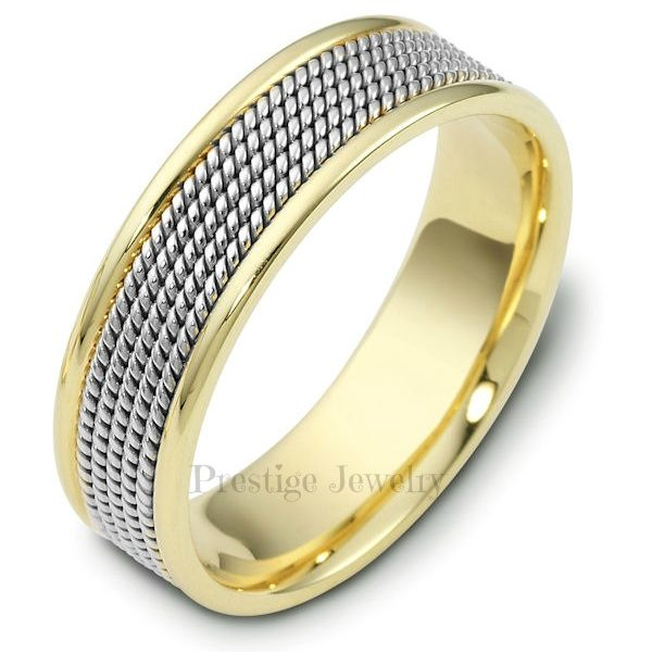 shiny rope braided handmade mens two tone wedding ring - Two Tone Wedding Rings